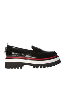MSGM - Black leather shoes with red insert
