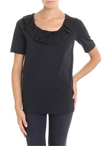 Dsquared2 - Black T-shirt with ruffle on the neckline