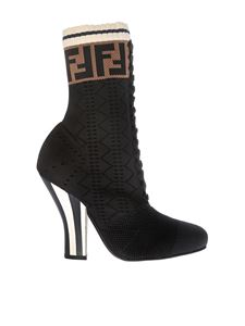 Fendi - Stretch knitted design ankle boots