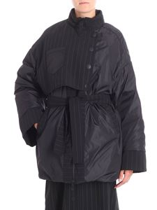 I'm Isola Marras - Black quilted jacket with pinstriped fabric inserts
