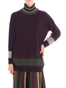 Antonio Marras - Plum color pullover with lamé thread inserts