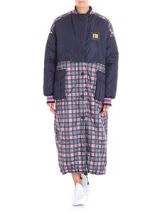 I'm Isola Marras - Blue padded coat with checked fabric inserts