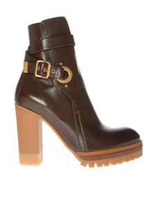 Chloé - Brown ankle boots with buckle and strap