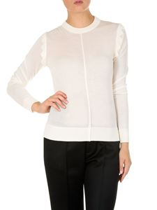 Chloé - White wool pullover with wavy inserts