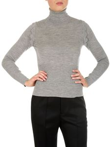 Chloé - Gray turtleneck sweater with wavy inserts