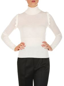 Chloé - White turtleneck sweater with wavy inserts