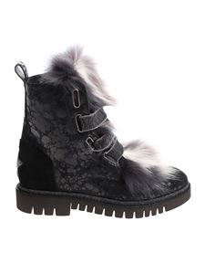 Lorena Antoniazzi - Black ankle boots with fur insert