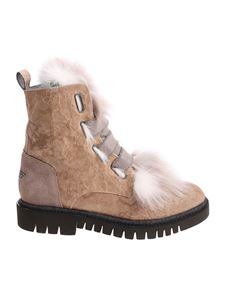 Lorena Antoniazzi - Beige ankle boots with fur insert