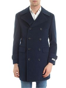 Canali - Blue double-breasted wool coat