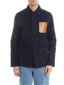 Loewe - Blue denim jacket with leather logo patch