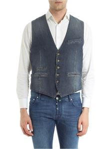 Eleventy - Denim waistcoat with dark gray back