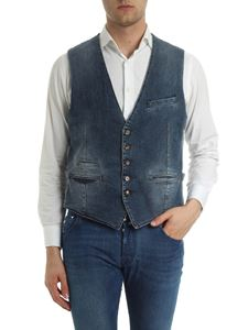 Eleventy - Denim waistcoat with light gray back
