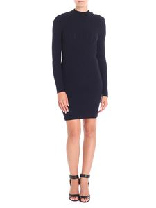 Balmain - Blue ribbed wool dress with stand up collar