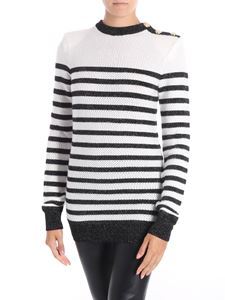 Balmain - Black and white striped pullover
