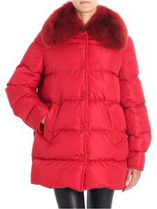 Moncler - Mesange red down jacket with fur collar