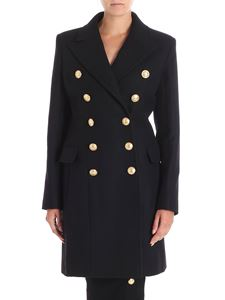 Balmain - Black double-breasted coat with golden buttons
