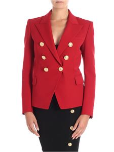 Balmain - Double-breasted red jacket with golden buttons