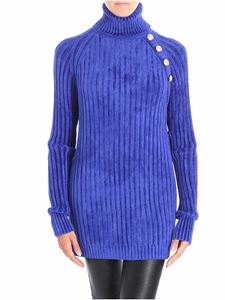 Balmain - Ribbed blue chenille turtleneck sweater