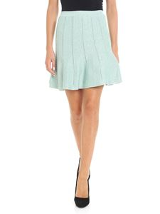 Alberta Ferretti - Short flared lamé aquamarine skirt