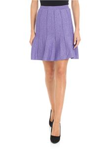 Alberta Ferretti - Short flared purple lamé skirt