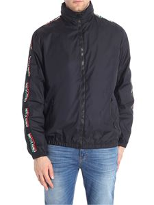 Moschino - Black padded jacket with branded sleeves