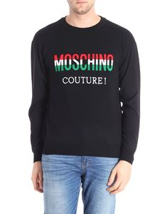 Moschino - Black pullover with tricolor logo embroidery