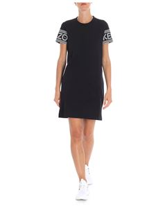 Kenzo - Black dress with logo print on the sleeves