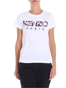 Kenzo - White t-shirt with Paris logo embroidery