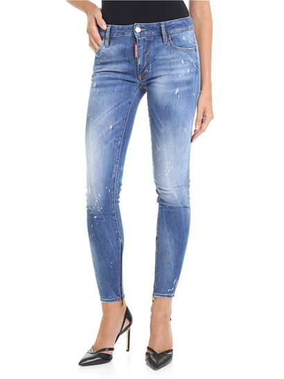 Dsquared2 - Twiggy blue jeans with color spots