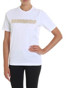 Dsquared2 - White t-shirt with golden logo print