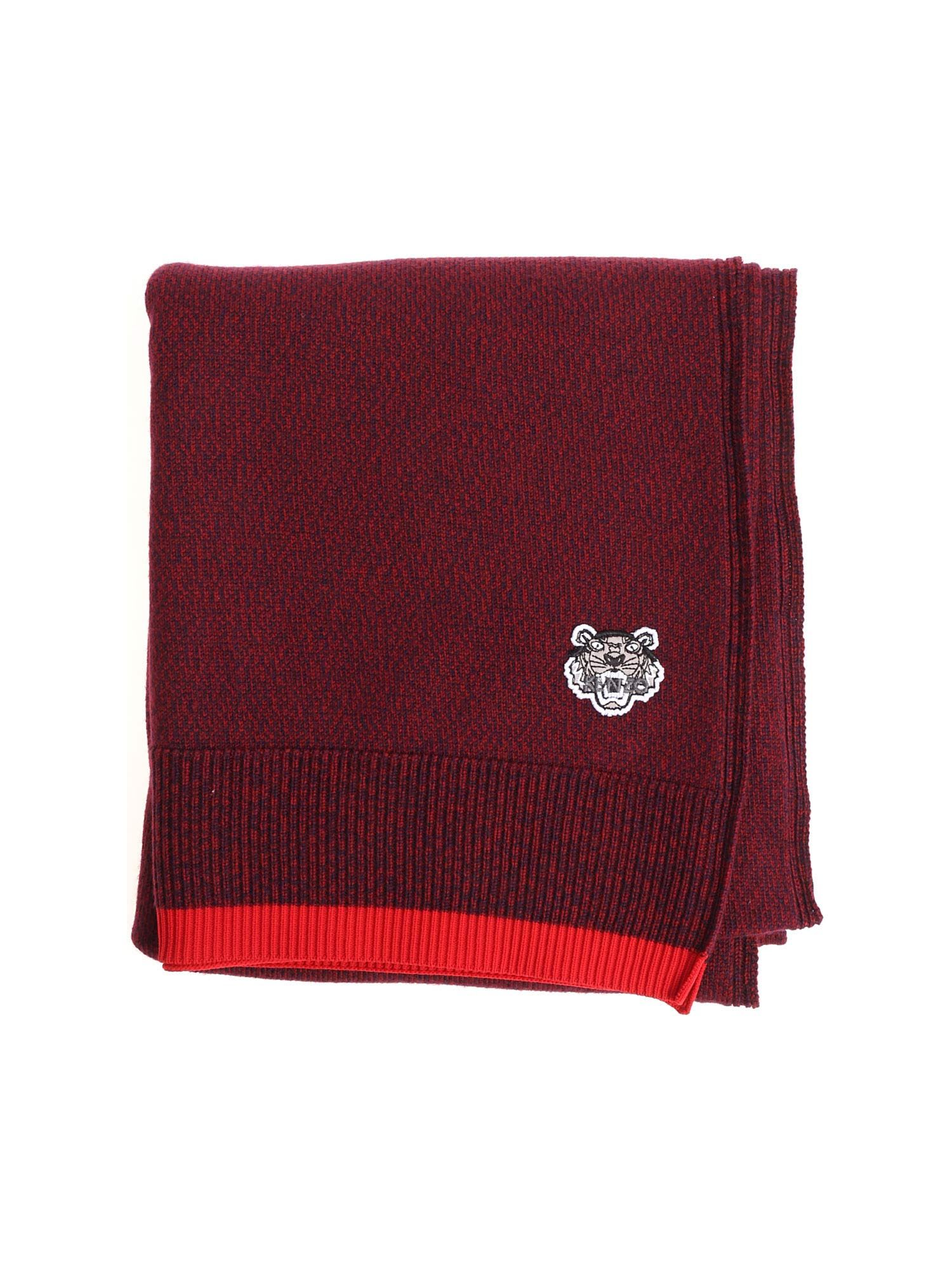 Kenzo Blue And Red Scarf With Tiger Logo