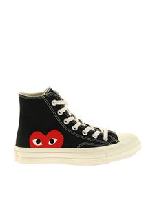 Comme des Garçons Play  - High black sneakers with red heart print