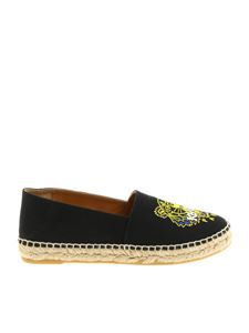Kenzo - Black espadrilles Yellow Tiger embroidery