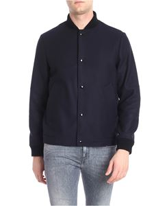 Paltò - Blue wool and cashmere bomber jacket