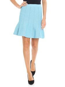 Alberta Ferretti - Light blue lamè flared short skirt