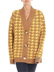 Erika Cavallini Semi-couture - Yellow and brown hound's-tooth cardigan