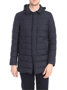 Herno - Blue down jacket with removable hood