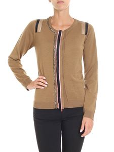 N° 21 - Camel color knitted cardigan with rhinestones