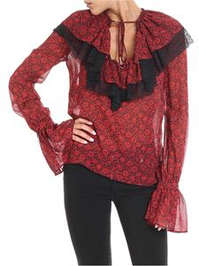 Philosophy di Lorenzo Serafini - Red and black blouse with floral print