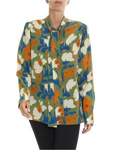 Erika Cavallini Semi-couture - Green shirt with floral print
