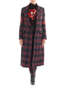 Ermanno Scervino - Black double-breasted coat with check print
