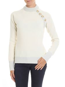Balmain - Cream pullover with silver lamé inserts