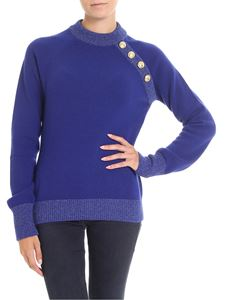 Balmain - Blue pullover with silver lamé inserts