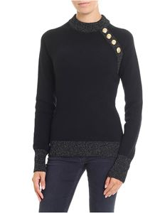 Balmain - Black pullover with silver lamé inserts
