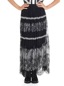 Ermanno Scervino - Black and white lace long skirt