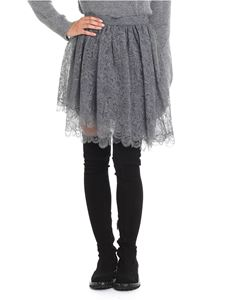 Ermanno Scervino - Gray flared multilayer lace skirt