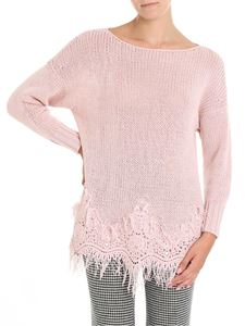 Ermanno Scervino - Pink knitted sweater with macramé insert