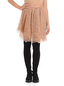 Ermanno Scervino - Nude multilayer lace flared skirt