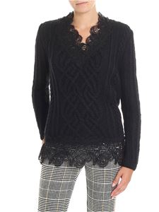 Ermanno Scervino - Black knitted sweater with lace insert