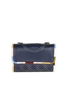 Tory Burch - Borsa a tracolla piccola Fleming Piping blu